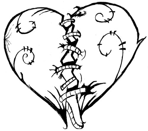 free broken heart coloring pages download free clip art