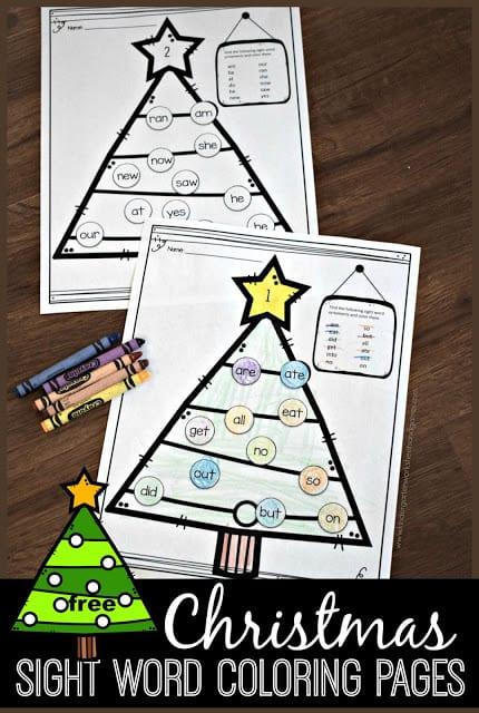 free christmas sight words coloring sheets free homeschool