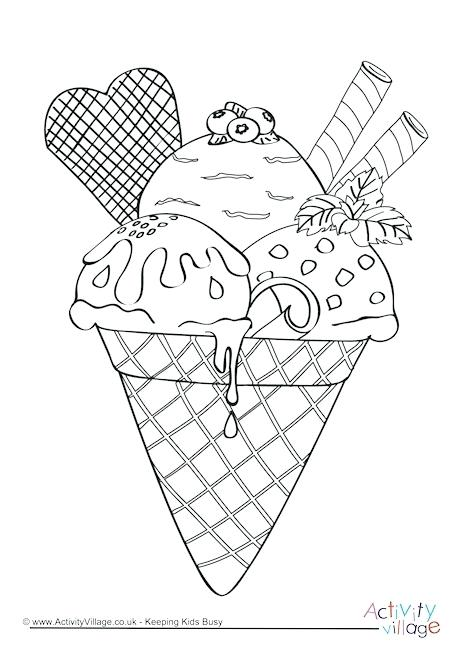 free coloring page ice cream cone pusat hobi