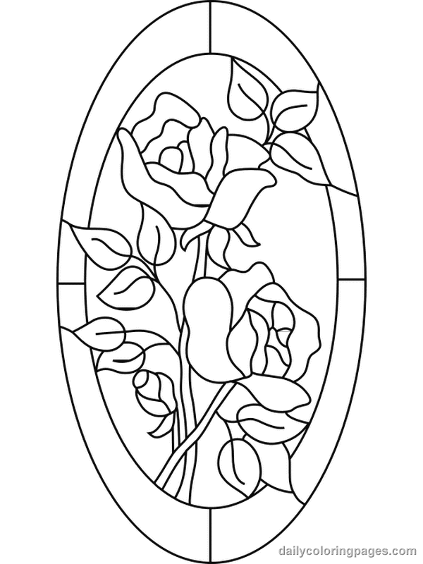 free coloring pages for adults stained glass flower