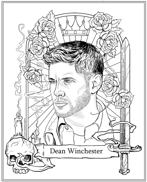 free dean winchester coloring page upcycling