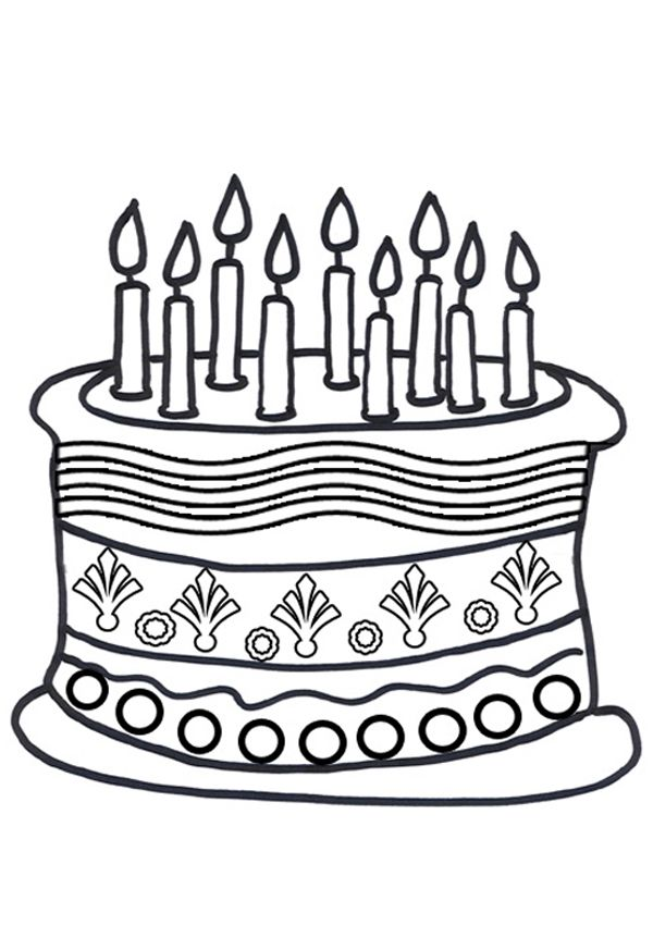 free online birthday cake colouring page kids activity
