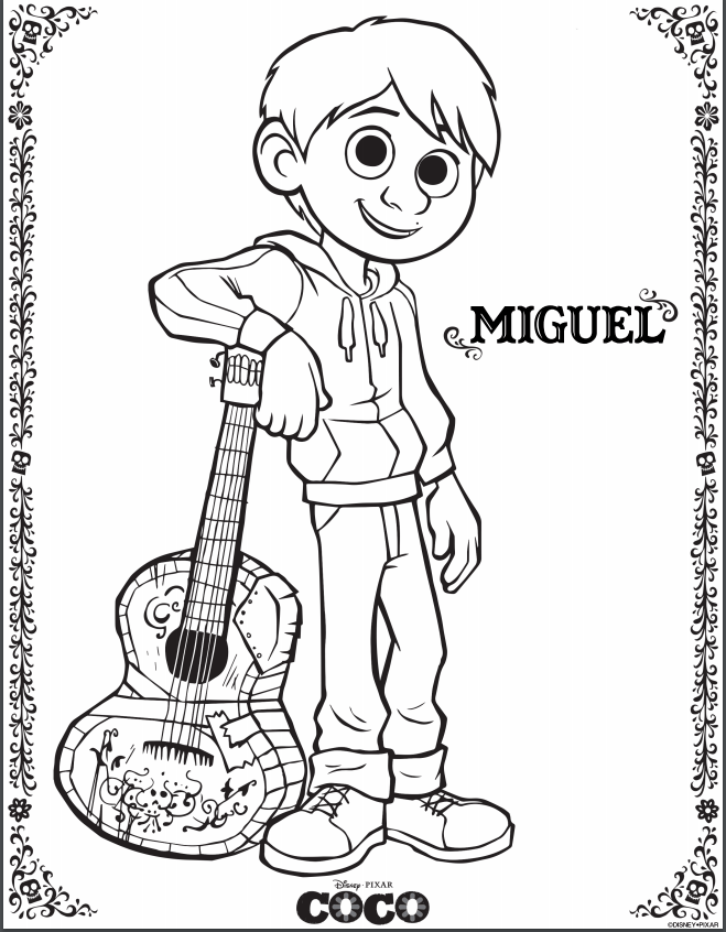 free pixars coco printable coloring pages activity sheets