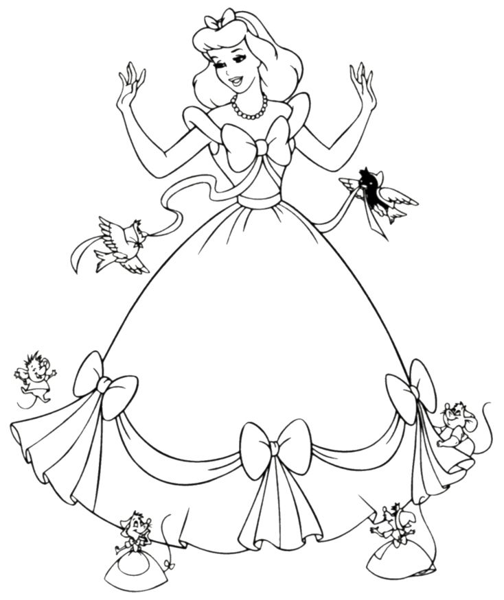 free printable cinderella coloring pages for kids