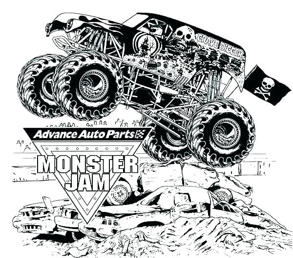 free printable coloring page monster truck pusat hobi
