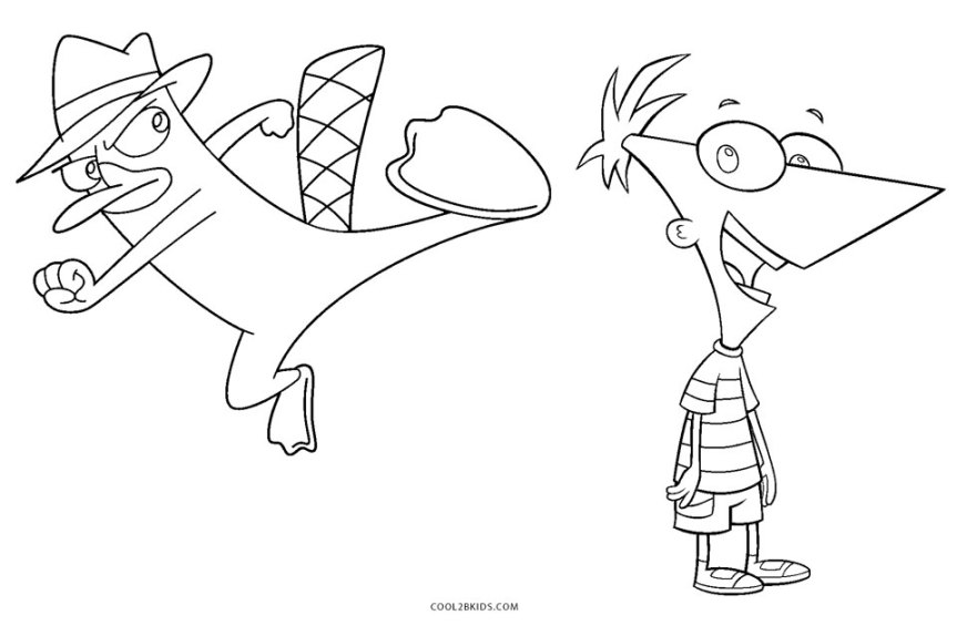 free printable phineas and ferb coloring pages for kids