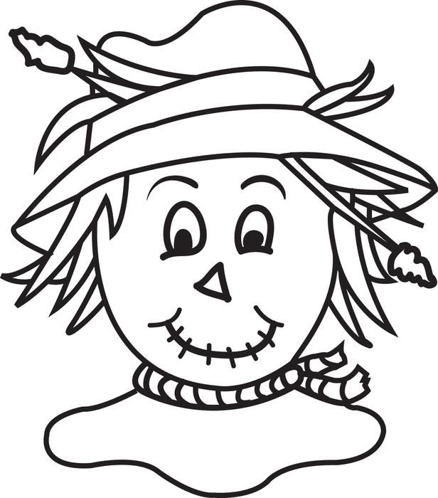 free printable scarecrow coloring page for kids halloween