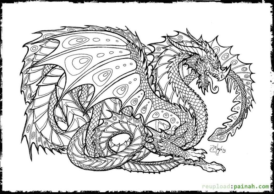 free realistic dragon coloring pages for adults download