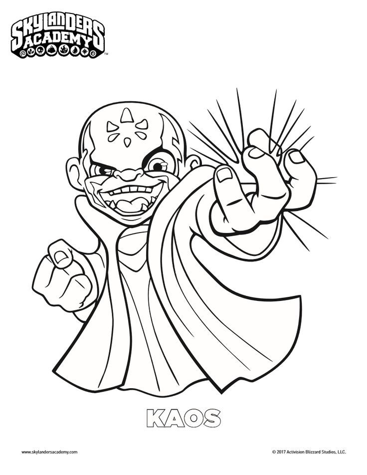 free skylanders kaos coloring page coloring pages