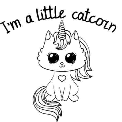 free unicorn cat coloring pages hand drawn cute unicorn cats