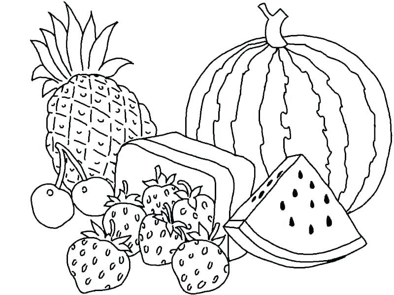 fruit basket coloring pages free printable fruit basket