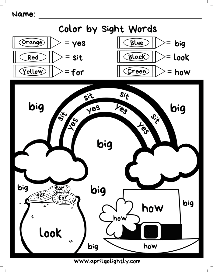 fry words coloring pages free st patrick39s day sight words