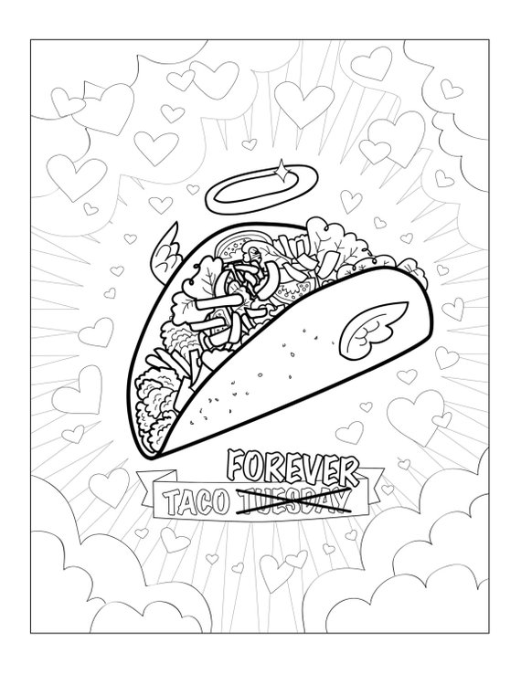funny taco printable pdf adult coloring sheet funny