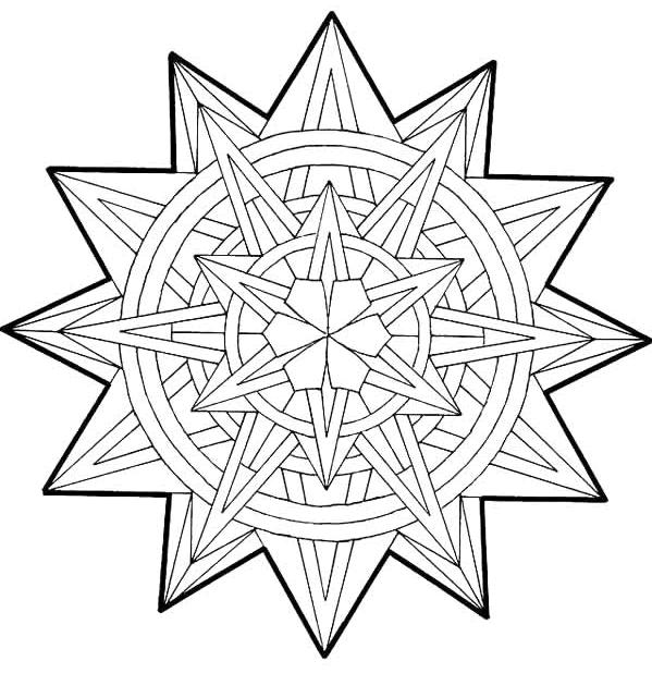 geometric 3d colouring pages mandala mandala coloring