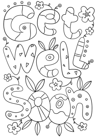 get well soon doodle coloring page free printable coloring