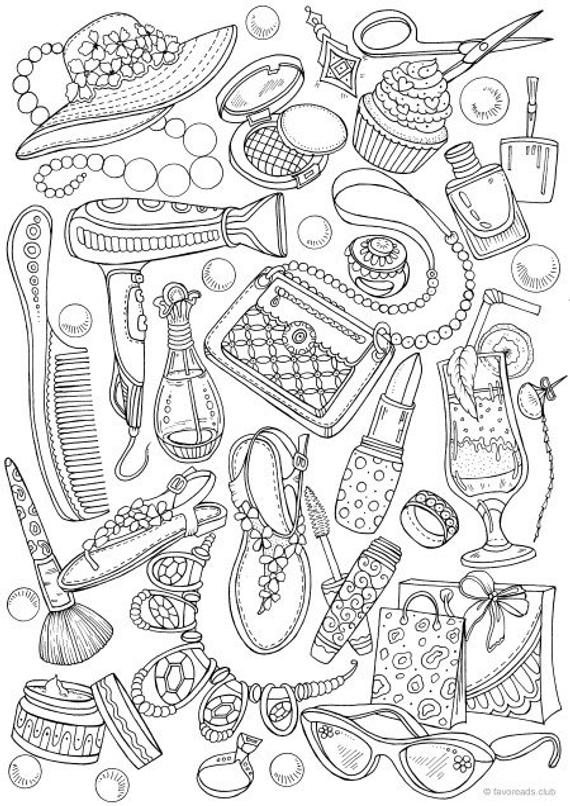 girly fashion printable adult coloring page from favoreads coloring book pages for adults and kids coloring sheets coloring designs