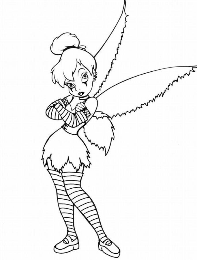 gothic tinkerbell coloring pages