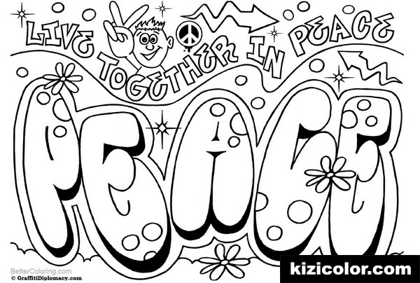 graffiti pages peace kizi free coloring pages for