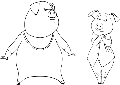 gunter and rosita from sing coloring page free printable