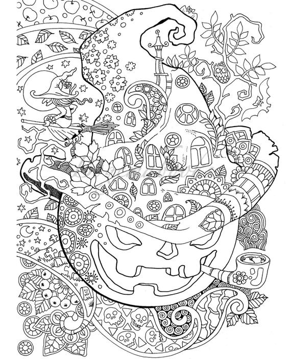 halloween adult coloring book pdf coloring pages digital coloring pages for stress relieving relaxation coloring