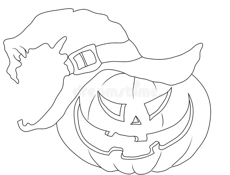 halloween coloring page pumpkin in the hat stock