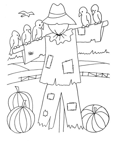 halloween scarecrow and birds coloring page scarecrow