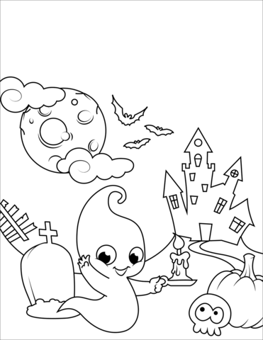 halloween scene with a cute ghost coloring page free