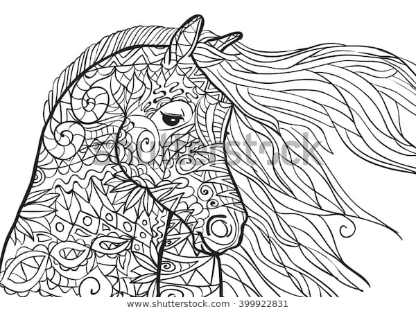 hand drawn coloring pages horses head stock vektorgrafik