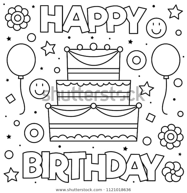 happy birthday coloring page black white stock vector
