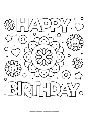 happy birthday flower coloring page free printable pdf
