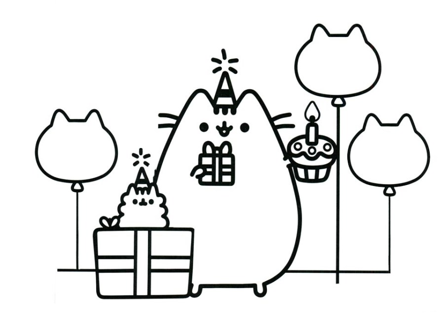 happy birthday pusheen coloring page free printable