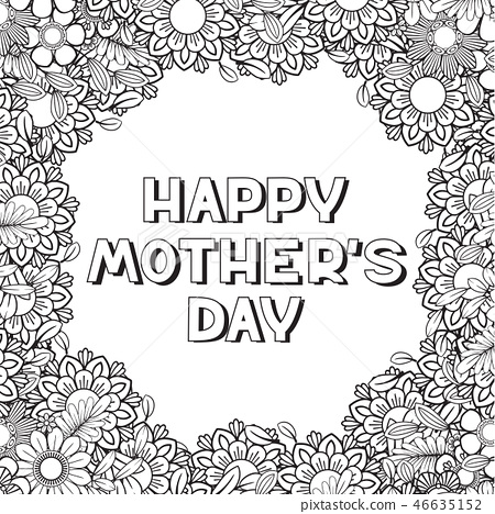 happy mothers day coloring page stock illustration