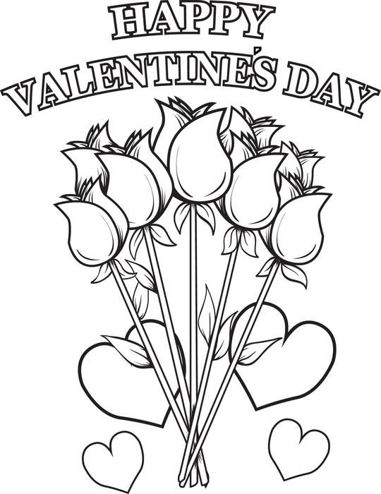 happy valentines day flowers coloring page valentines day