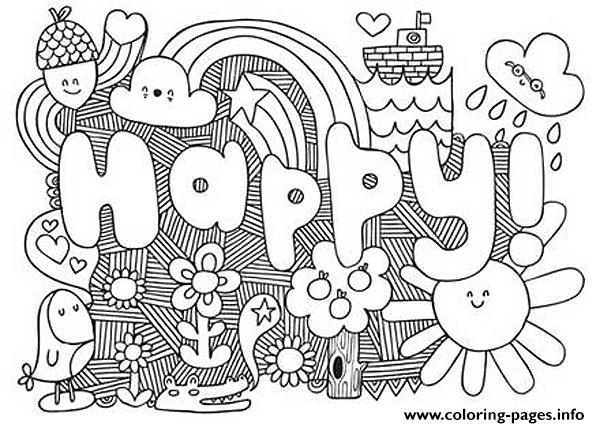 happy word coloring pages printable