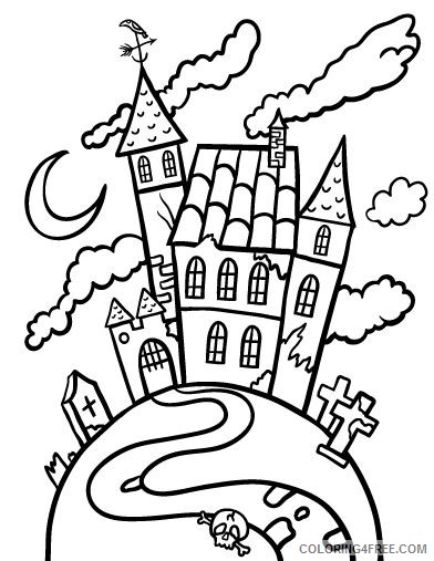haunted house coloring pages free for kids coloring4free