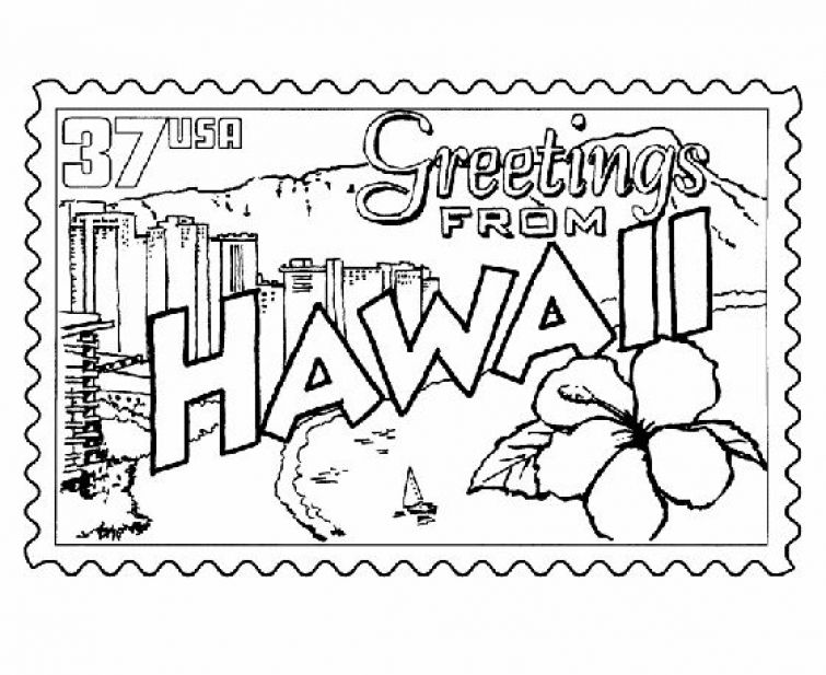 hawaiian stamp printable coloring page coloring pages