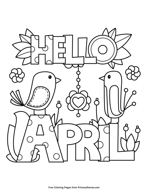 hello april coloring page free printable ebook