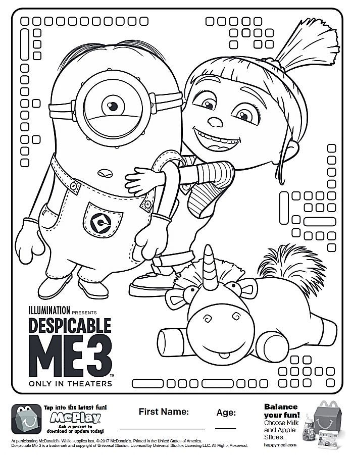 here is the happy meal despicable me 3 coloring page click