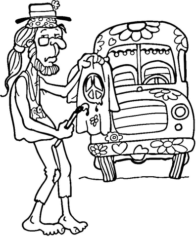 hippie man coloring page free printable coloring pages