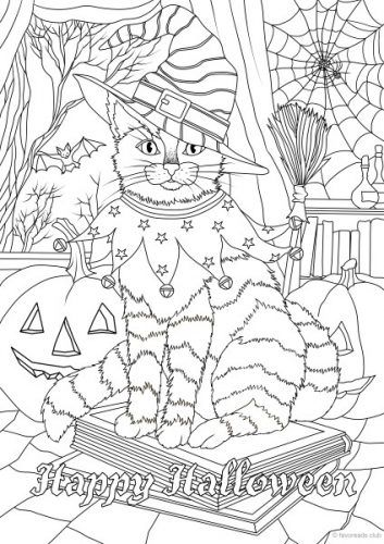 holidays halloween cat printable adult coloring pages