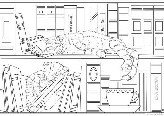home library cats printable adult coloring page from favoreads coloring book pages for adults coloring sheets coloring designs