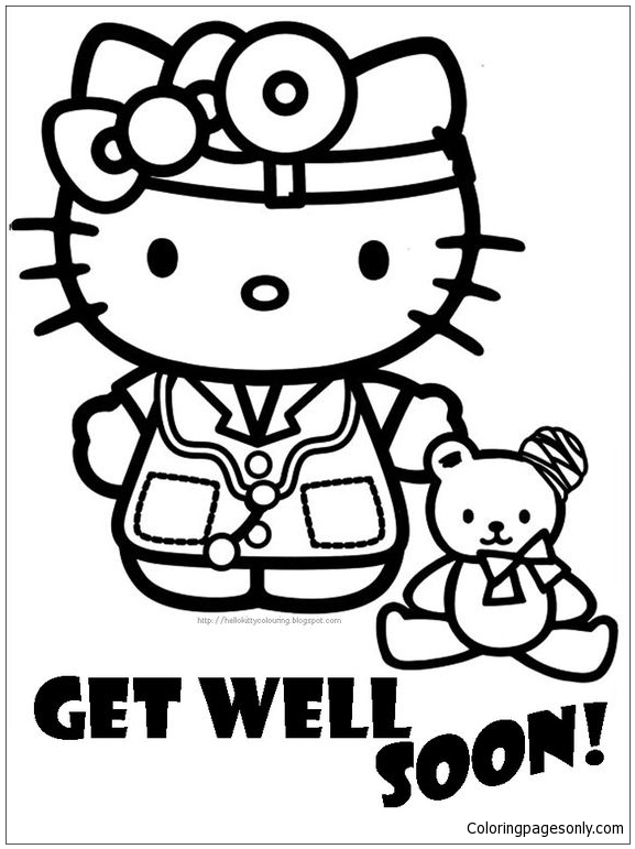 hospital get well soon of hello kitty coloring page free