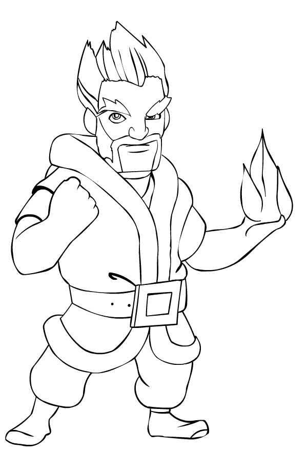 ice wizard from clash royale coloring page