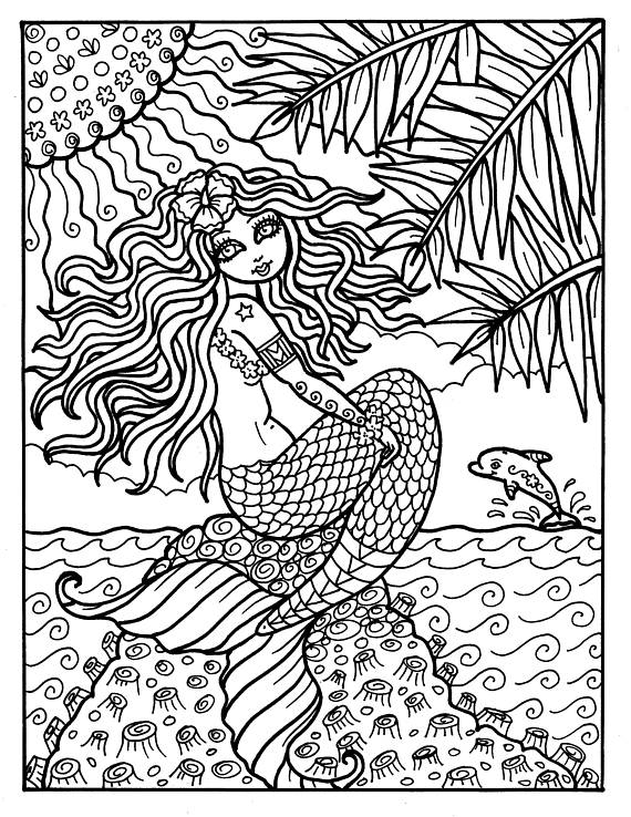 instant download digi stamp mermaid from hawaii adult