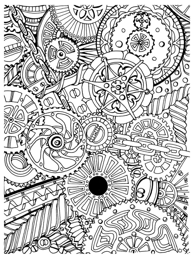intricate design of gear for adult difficult coloring pages