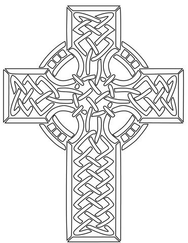 irische malvorlagen celtic cross coloring page