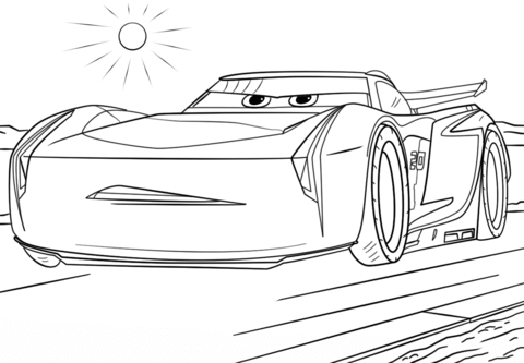 jackson storm from cars 3 coloring page free printable