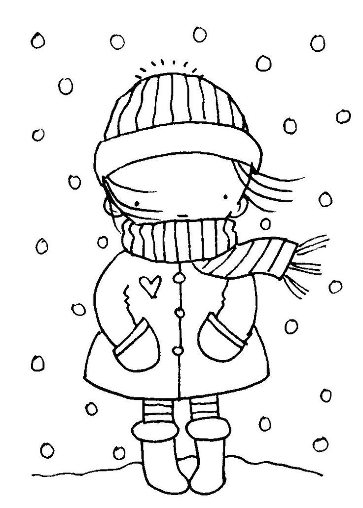 january coloring pages winter drawings digi stamps
