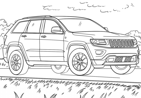 jeep grand cherokee coloring page free printable coloring