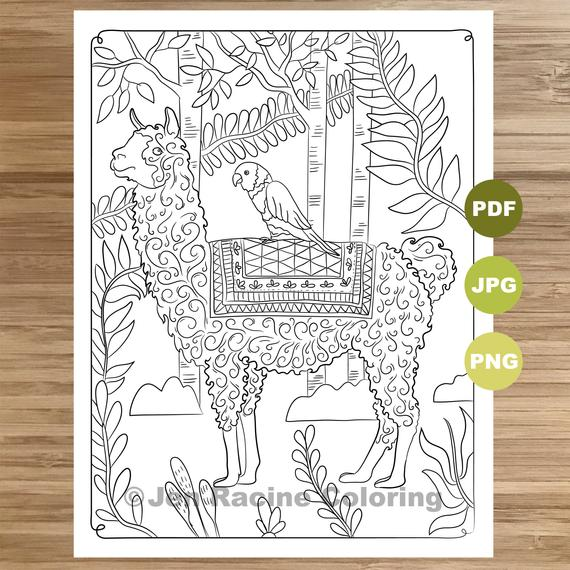 jungle llama coloring page llama art coloring book printable coloring pages for adults coloring pages for kids